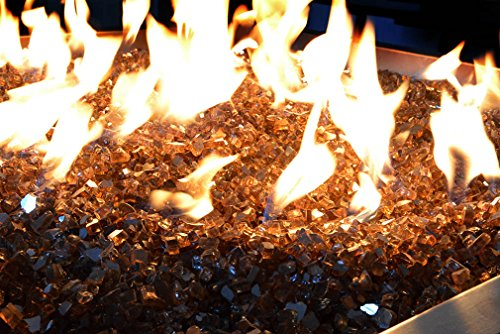 Onlyfire Reflective Fire Glass for Natural or Propane Fire Pit, Fireplace, or Gas Log Sets, 10-Pound, 1/4-Inch, Copper