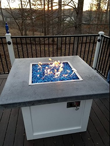 Stainless Steel Drop-in Square Fire Pit Burner Ring and Pan Assembly, 18 Inch