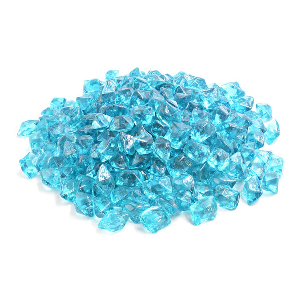 "Mr. Fireglass 1/2"" Polygon Fire Glass for Natural or Propane Fire Pit,Fireplace and Fire Table,10 lb,Aqua Blue"