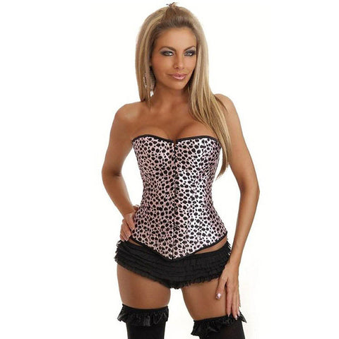 4 Sizes Pink Overbust Button Closure Overbust Spandex Leopard Corset