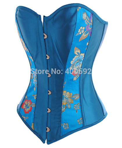 4 Sizes Button Closure Overbust Polyester Turquoise Corset