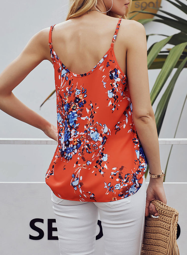 Single-breasted V-neck Floral Tank Top (LC251993-14-2)