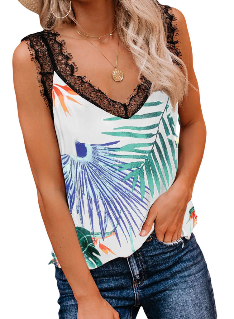 Print Floral Lace Patchwork Tank Top (LC252090-9-1)