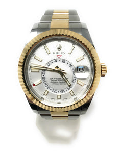 Rolex Skydweller Two Tone 18k Yellow Gold and Stainless Steel White Face Men's Watch