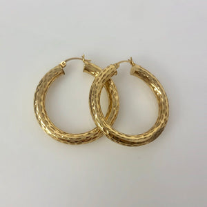 14k Yellow Gold Diamond Cut Hoop Earrings - 4 grams