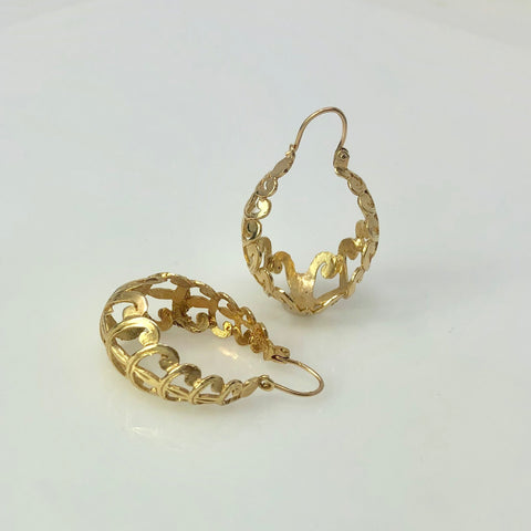 14K Yellow Gold Stylized Hoop Earrings - 8 grams