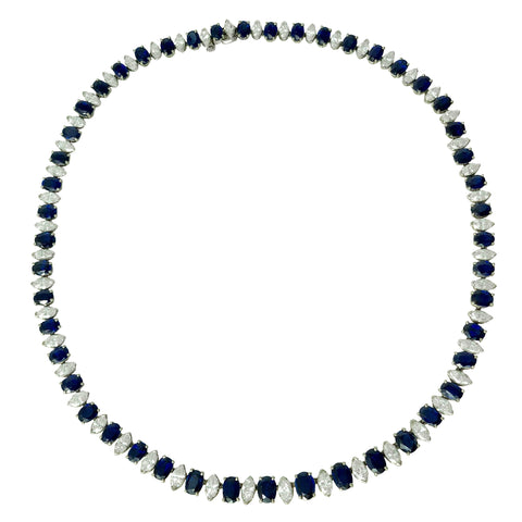 Lady Luck Collar - Platinum Blue Sapphire Diamond Necklace
