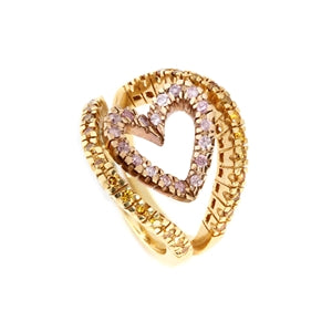 HEART SHAPED PINK & YELLOW DIAMOND RING