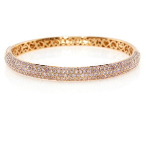 Pink Power Bangle -18k Rose Gold Pave Diamond Bangle Bracelet