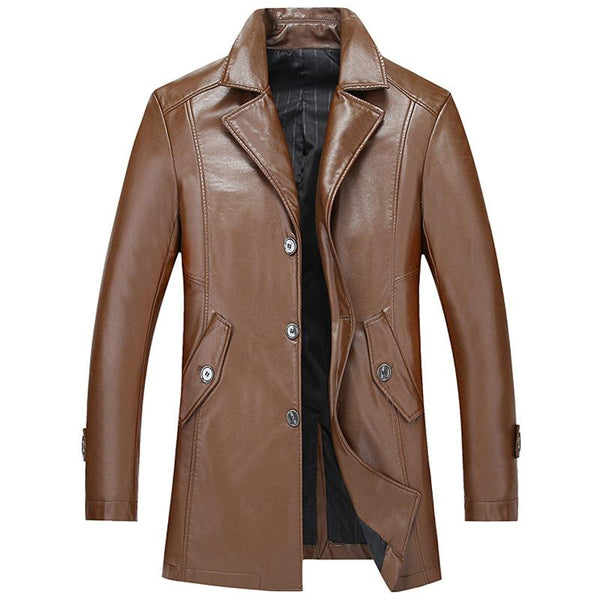 Men's Classic Long Style Leather Jacket #002