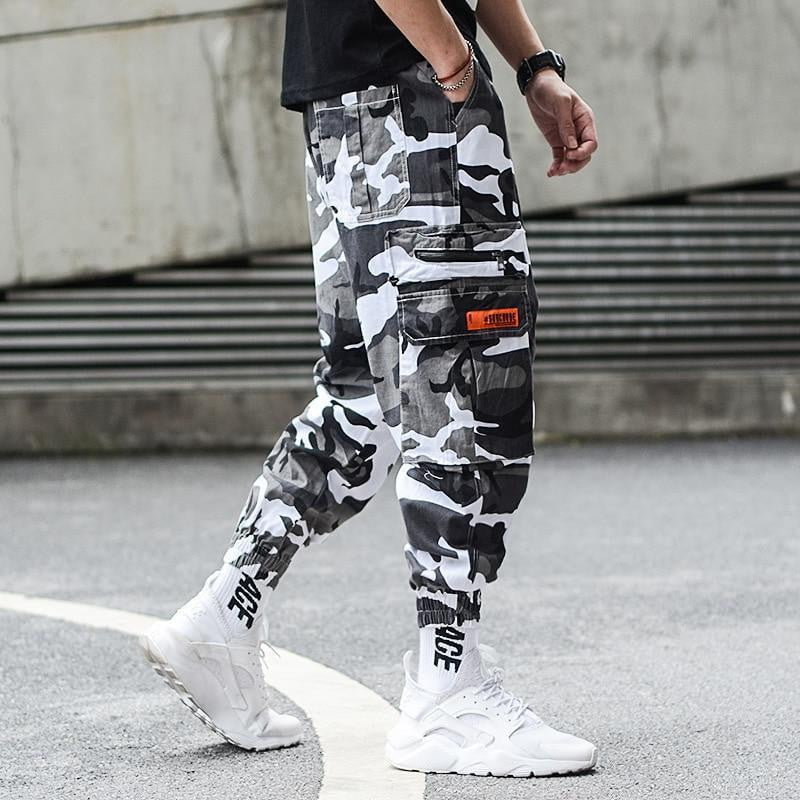 aliexpress outlet on sale stable quality Camouflage Jogger Pants Men Hip Hop Trousers Loose Fit Ankle Banded Big  Pocket Cargo Pants Streetwear Men's Punk Jeans