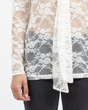 Load image into Gallery viewer, Vintage Beige Long Sleeve See Through Lace Blouse Top/ size L
