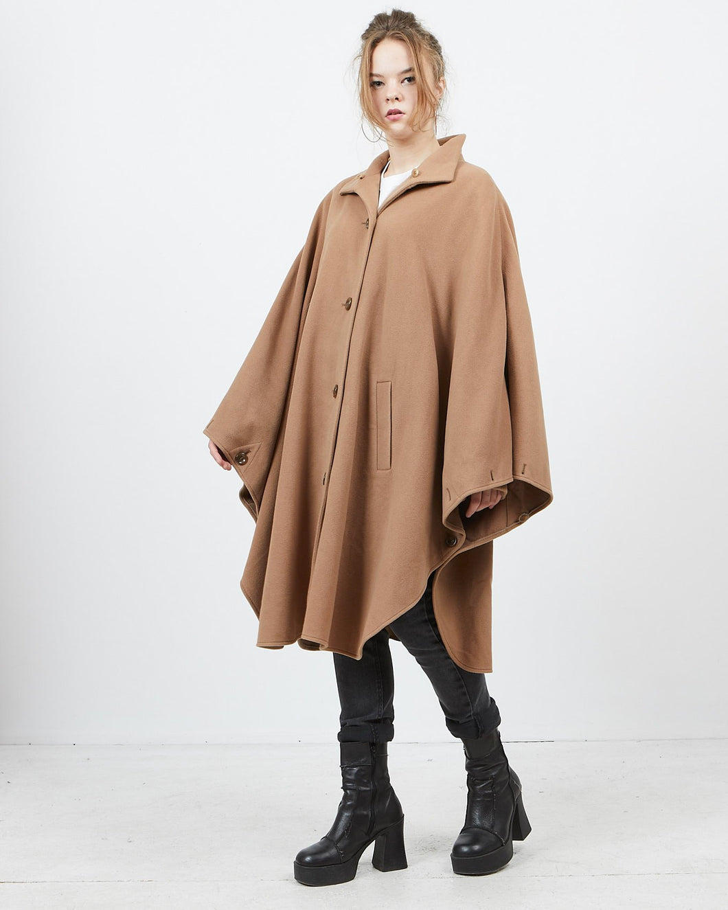 Vintage Women's Autumn Winter Brown KOEHIER-KRENZER Cape Poncho Coat/ Size 38