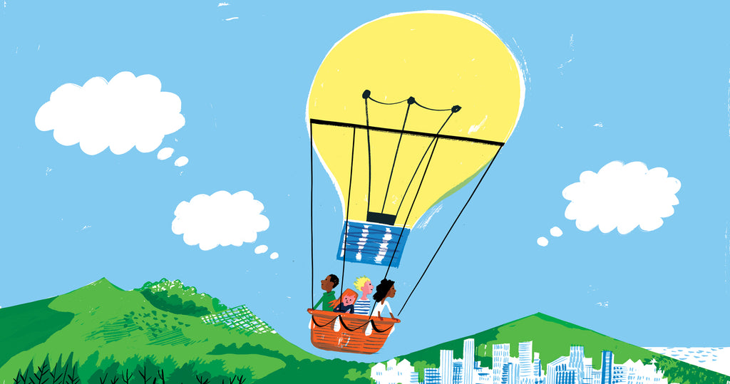 Illustration of a group of kids 6-9 years old, in an air balloon that is travelling over a countryside and a cityscape, but the air balloon is made out of a lightbulb to illustrate their ideas.