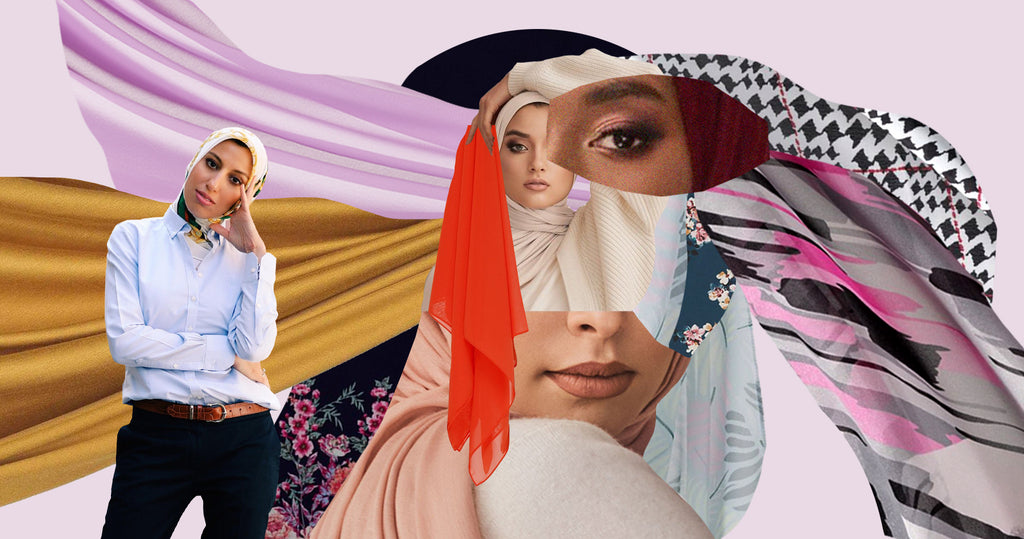 Portrait of Melanie Elturk, founder of Haute Hijab, with collaged swatches of various hijabs next to her.