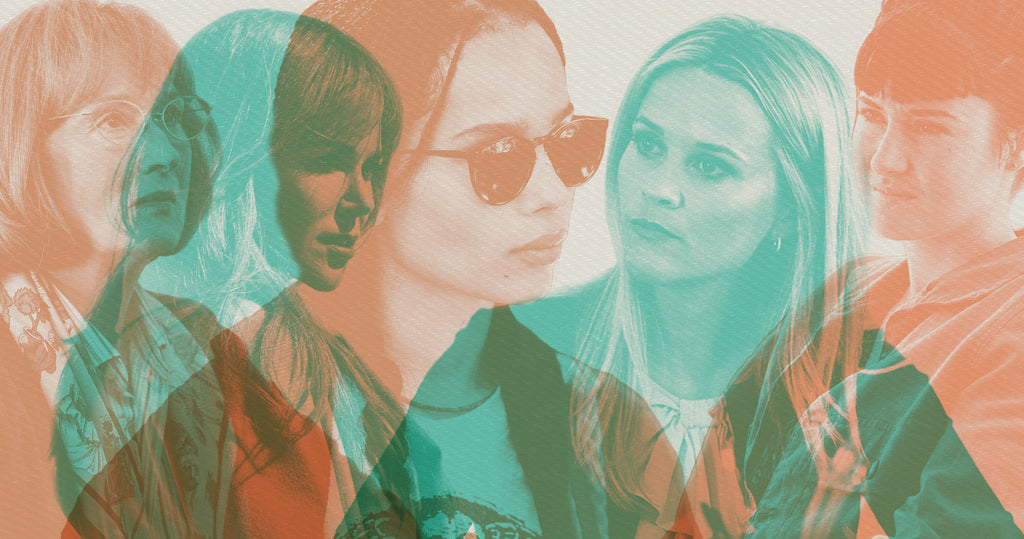 Photo collage of the cast of Big Little Lies. From left to right, characters Mary Louise (Meryl Streep), Celeste (Nicole Kidman), Bonnie (Zoë Kravitz), Madeline (Reese Witherspoon) and Jane (Shailene Woodley)