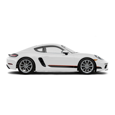 Racelite Designs Porsche Cayman 718 Classic RS Stripe Kit Gloss Red - Matte Black