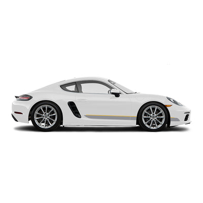 Racelite Designs Porsche Cayman 718 Classic RS Stripe Kit Gloss Yellow - Gloss Metallic Silver