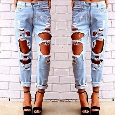 Boyfriend hole ripped jeans women pants Cool denim vintage straight jeans for girl Mid waist casual pants female-geekbuyig