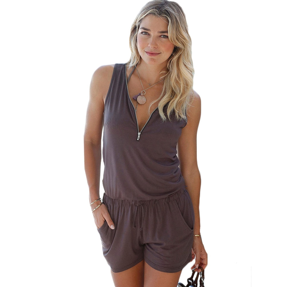 YJSFG HOUSE Fashion Deep V-neck Zipper Rompers Women Jumpsuit Beach Playsuit 2017 Summer Sexy Sleeveless Short One Piece Catsuit-geekbuyig