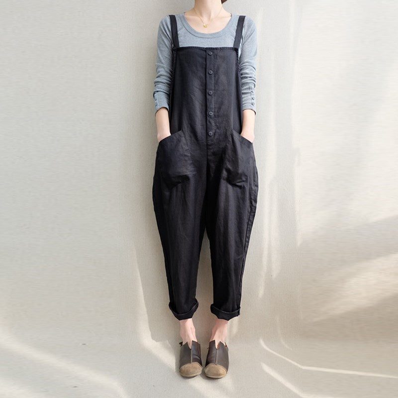 ZANZEA Women Sleeveless Pockets Dungaree Baggy Jumpsuits Overalls Fashion Strappy Casual Loose Long Harem Pants Bib Trousers-geekbuyig
