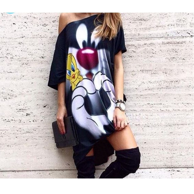 Character Printed Women Casual Blouse One Shoulder Blouses Summer Autumn Shirts Blusas Mujer Haut Ete Punk Body Top Lady Size XL-geekbuyig