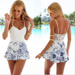 Women's Fashion Summer Sexy Strap Jumpsuit Backless Floral Printed Beach-geekbuyig