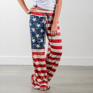 New Women Pants Fashion Women's Summer Long Pants America National Flag Printed Free Trousers Full Length Medium Waist Casual-geekbuyig
