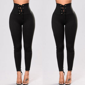 Women Slim Pants High Waist Lace Up Bandage Pants Skinny Stretch Pencil Trousers-geekbuyig