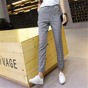 Plaid Harem Pants Trousers 2018 New Spring Summer Loose Casual Drawstring Elastic Waist Pants Cotton Linen Pants dropshipping-geekbuyig