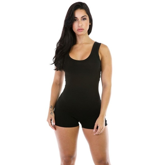 Women Summer Jumpsuits Bodysuits Sleeveless Round Neck Bodycon One piece Shorts Fitness Pants-geekbuyig