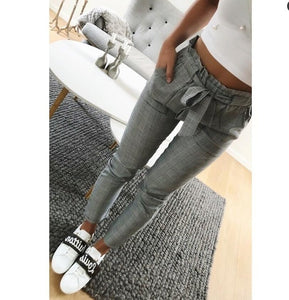 New 2018 Fashion Vintage gray grid casual pants women pants trousers female spring streetwear capris summer pants-geekbuyig