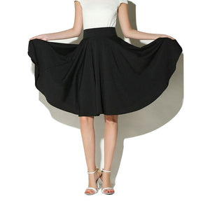2018 New Summer Skirts Casual Women Solid Color High Waist Ladies Umbrella Skirt Big Swing Middle Beach Female Chiffon Bottoms-geekbuyig