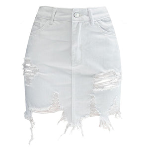 2018 new summer women sexy streetwear high waist short denim skirt female white hollow out tassel bodycon cowgirl mini skirts-geekbuyig