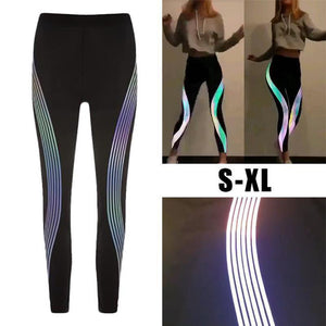 hot fashion Rainbow Reflective Leggings women workout Fitness leggings ladies Pants Activewear Glow In The Dark clothes women-geekbuyig