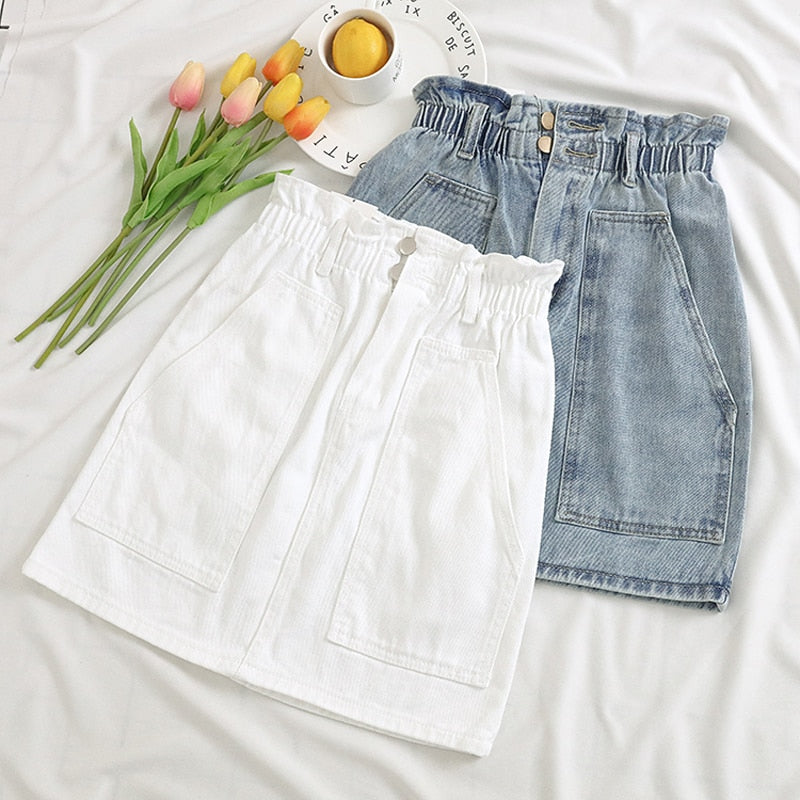 Elastic Waist Summer Women Denim Skirt Pockets Sexy White High waist jeans Skirts A-line Casual Ruffles Female mini saia mujer-geekbuyig