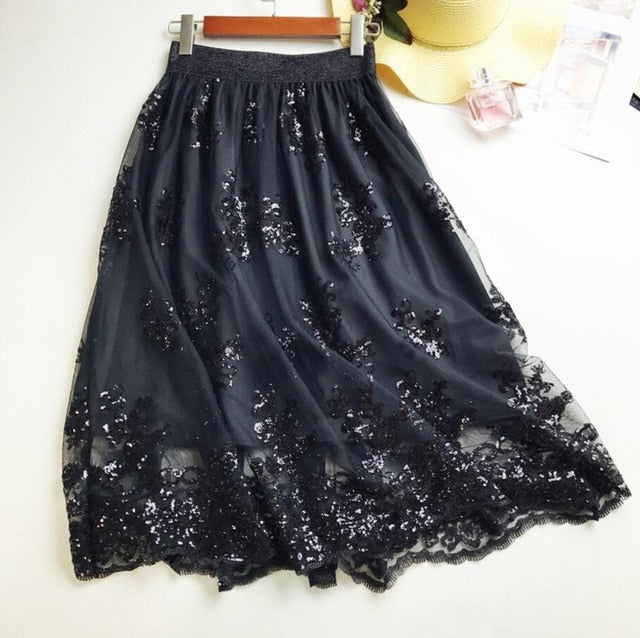 2018 Skirts New Women Girls Middle Long Calf Elastic Force Black Khaki Sequins Lace Sexy Splicing High Waist Cultivation Downloa-geekbuyig