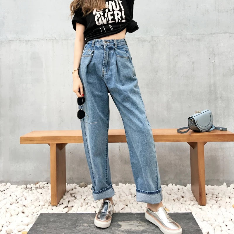 MingJieBiHuo Fashion women Korean new arrival Casual loose wild jeans high waist pants wide leg simple jeans with zipper skinny-geekbuyig
