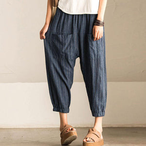 2018 ZANZEA Women Casual Vintage High Elastic Waist Pockets Striped Baggy Harem Pants Turnip Trousers Work OL Wide Leg Pantalon-geekbuyig