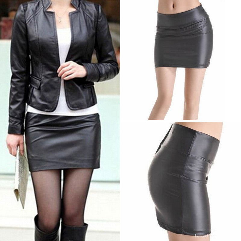 Women Sexy Bodycon Mini Skirt Faux Leather Zip High Waist Mini Short Skirt S-3XL-geekbuyig