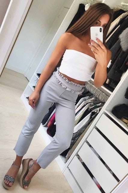 2018 new trend white & gray & black OL chiffon mid-rise comfort pants ladies fashion nine points bohemian trousers-geekbuyig