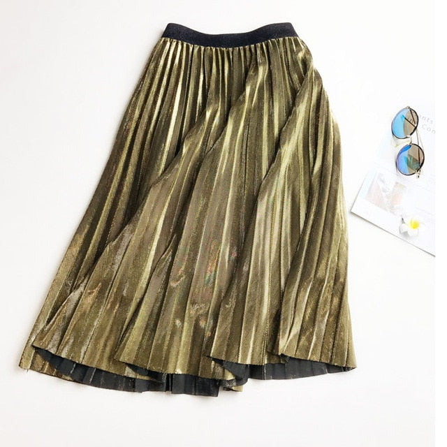 New Streetwear Women Long Metallic Silver Maxi Pleated Skirt Midi Skirt elasticity pleated skirts High Waist Casual Party Skirt-geekbuyig