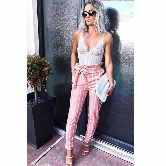 New Pink Double Striped Pants High Waist Pencil pants Women stringyselvedge summer style sexy pants female trousers-geekbuyig