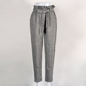 New Ladies Mid Waist Flat Pencil Pants Blue&White&Gray Striped Drawstring Sashes Pockets Trousers-geekbuyig
