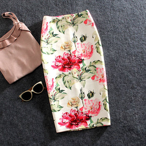 Plus Size 22Colors Women Skirts Casual Print Flowers Pencil Skirt Lolita Style Skirts Faldas Mujer-geekbuyig