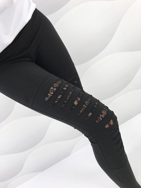 Summer Holes Leggings Women Solid Workout Leggings Mujer Women High Waist Leggings Sexy Lace decoration Leggins-geekbuyig