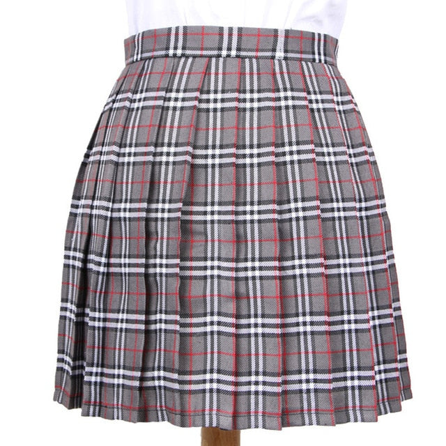 XS-3XL Harajuku 2018 Women Fashion Summer high waist pleated skirt Wind Cosplay plaid skirt kawaii Female Skirts-geekbuyig