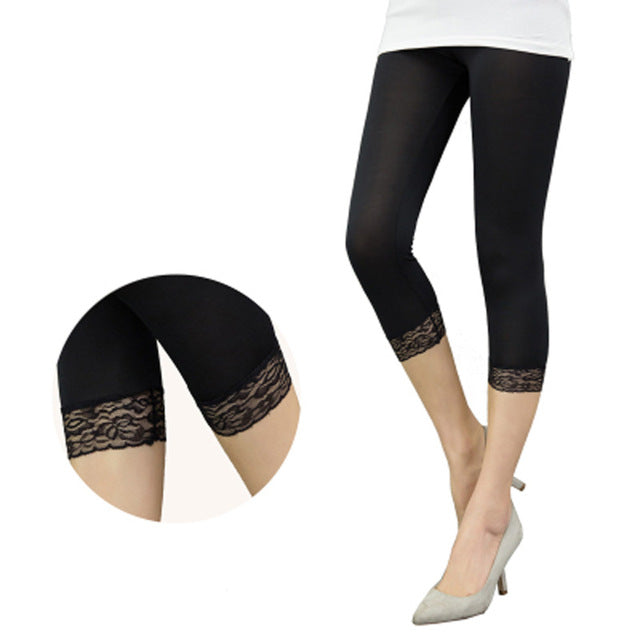 Women Elastic Lace Leggings Summer thin Mid-calf Pants Patchwork bodycon jeggings big size Cropped Short Trousers Black White-geekbuyig