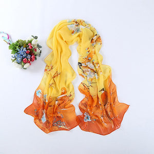 2018 Floral Print Chiffon Scarf Women Thin Silk Warm Summer Sunscreen Shawl Ladies Beach Scarf Plus Size Colorful New Arrival-geekbuyig