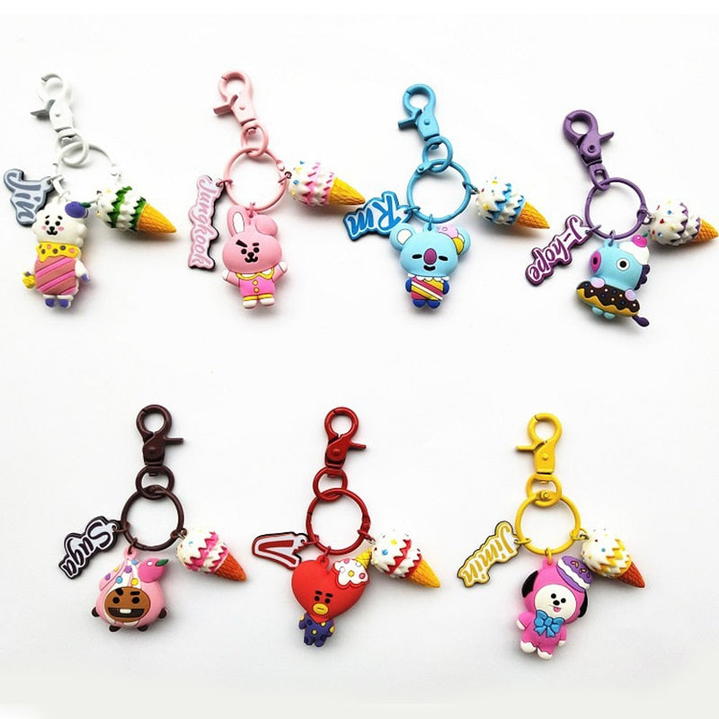 New Kpop BTS Bangtan Boys BT21 3D Soft Rubber COOKY CHIMMY SHOOKY TATA Key Ting Bag Pendant Phone Ring Keychain-geekbuyig